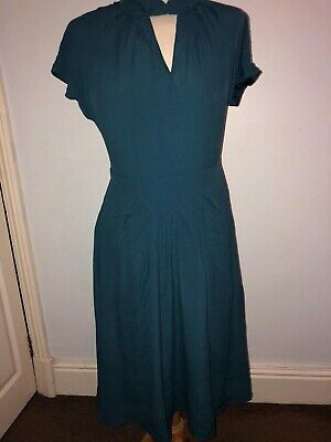 dbbe5d032efe Lindy Bop Emma Lou Teal Day to Night Swing Dress 1940's Inspired Size 10  BNWT