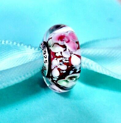 new  Authentic Pandora Silver 925 ALE Charm Bead Red Flower Garden z