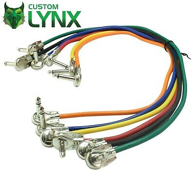 6 x Custom Lynx Pancake Jack Cables. Angled Guitar Pedal Board Patch Leads 1/4""