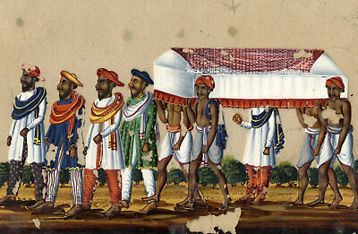 Company School 19th-century Indian Mica Painting in Gouache, Funeral Procession
