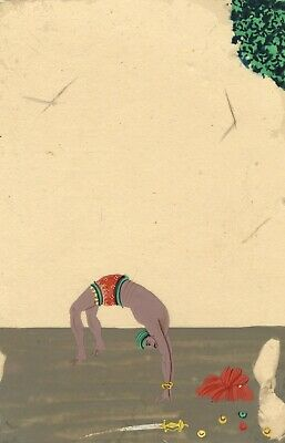 Company School 19th-century Indian Mica Painting in Gouache – Acrobat Performer