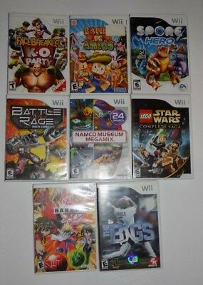 Nintendo Wii Game Lot of 8 Games Namco Museum Spore Hero Lego Star Wars Bakugan