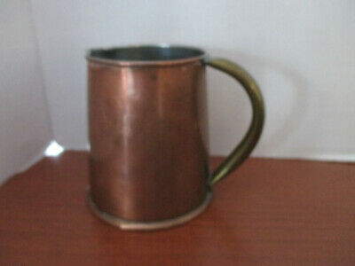 """Vintage COPPER & BRASS over Stainless Steel 4"""" SYRUP PITCHER POURING CONTAINER"""