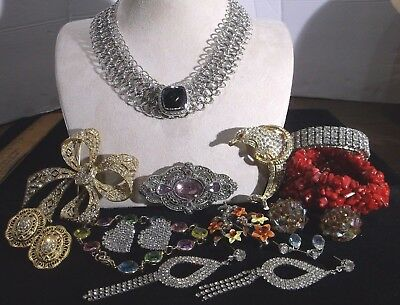 Vintage Unsigned Costume Jewelry, Bracelets, Earrings, Brooches, Necklace