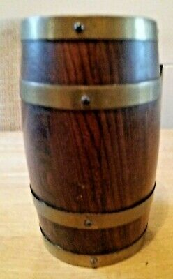Small brass and wooden coopered barrel