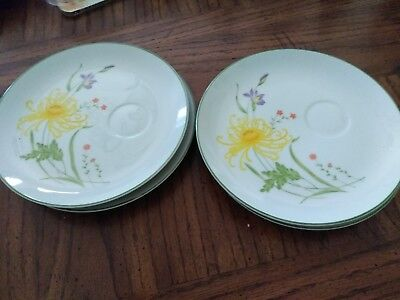 4 Japan floral flower yellow purple flower lunch luncheon plate raised cup holde