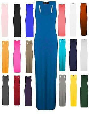 c81adde397 Women Ladies Racer Muscle Back Jersey Long Summer Vest Maxi Dress Plus Size  8-26