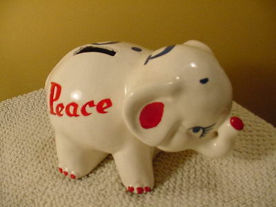 Vintage Political Pottery Piggy Bank White Hand Painted G.O.P. Peace Prosperity