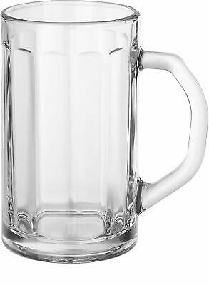 Circleware Glass Beer Mugs with Handle, Set of 4 Heavy