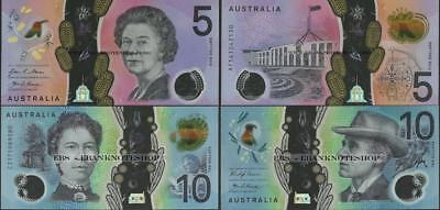 Australia,2 note set 5/10 Dollars,2016/2017,Uncirculated,Polymer @ EBS