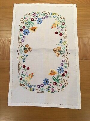 Vintage Embroidered Flower Tray Cloth