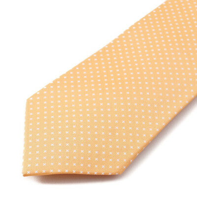 New E.MARINELLA NAPOLI Peach and White Mini Jacquard Print Silk Tie