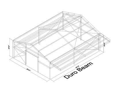 DuroBEAM Steel 30x40x12 Metal Building with 8' Self Supporting Canopy DiRECT