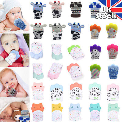 New Silicone Baby Teething Mitt Teether Mitten Glove Safe BPA Chew Dummy Toy UK
