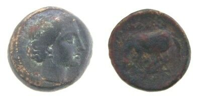 360-325 BC Larissa Thessalay AE17mm Coin VF Nymph Horse Ancient Greece Greek