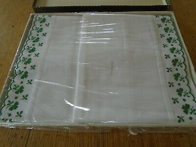 Unused Pair Of Vintage Embroidered Cotton Pillowcases