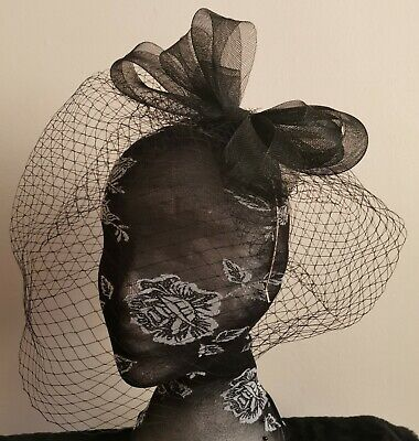 black veil fascinator headband headpiece wedding party piece race ascot funeral