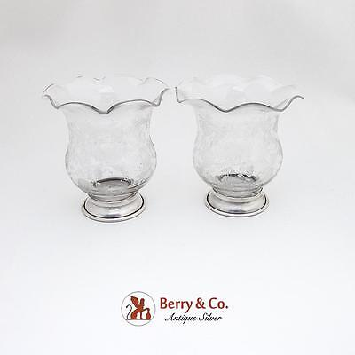 Floral Cambridge Acid Etched Glass Bud Vases Pair Sterling Silver