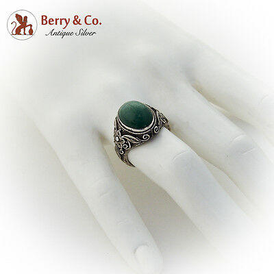 Old Chinese Aventurine Quartz Ring Floral Filigree Decorations Sterling Silver