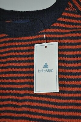 NEW Baby Gap Sz 12-18 Months Toddler Navy Orange Strip Long Sleeve Shirt Cotton