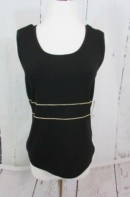 6d3f06a1775e1d Cable   Gauge Woman Size L Black gold Trim Tank Top Shell Sleeveless  Stretch NEW