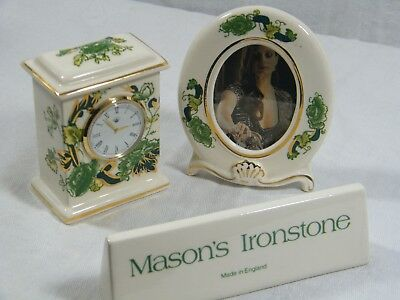 "Wedgwood/Masons Small Mantle Clock in "" Chartreuse "" & matching Picture Frame."