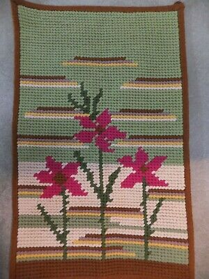 "Vtg Yarn Stitchery Wall Hanging Needlecrafts Abstract Flowers 27x17"" Crafts MCM"