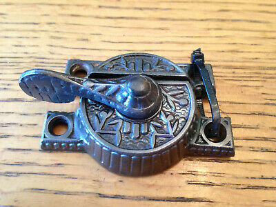 "Antique ""Windsor"" cast iron window sash lock 2 9/16"" width"