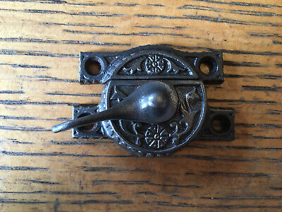 "Antique flower cast iron window sash lock   2 3/4"" width"
