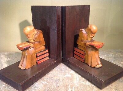 """Vtg Wood Hand Carved German Monks Bookends Gorgeous Patina 7.25""""tall"""