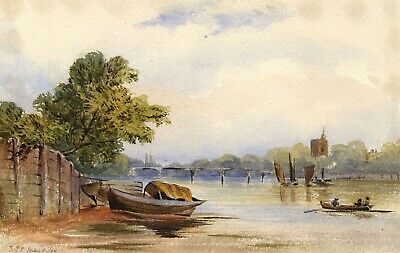F.F.S, Sailing River Boats - Original 1864 watercolour painting