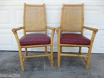 Pair Bamboo Arm Chairs Rattan 2 Dining Captain Hollywood Regency Tropical Cane