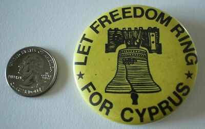 Let Freedom Ring For Cyprus Human Rights Vintage Pin Pinback Button #30555