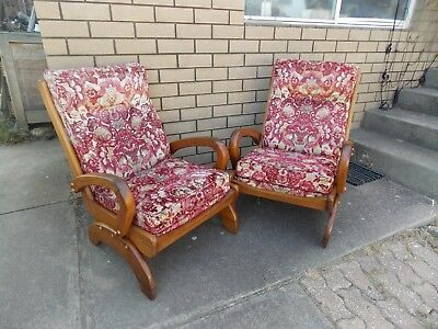 A Pair of Ercol / Eames Era Danish Style Chairs Mid Century Vintage Retro