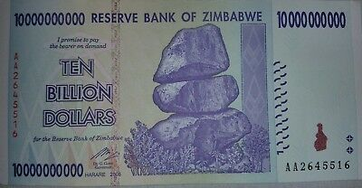 Zimbabwe 10 Billion Dollars Note. Uncirculated.