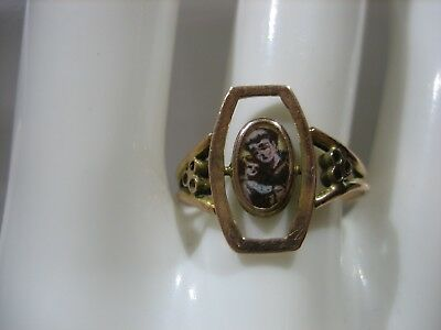 Rare Antique Victorian Hand Painted Father Child 8K Yellow Gold Ring Size 6.75