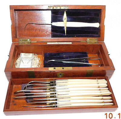 Victorian cased set of minor surgery intsruments by S. Maw Son and Thompson