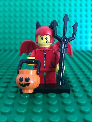 New Lego Cute Little Devil Minifigure w// Pumpkin /& Trident from 71013 Series 16