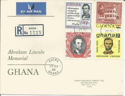 Ghana 1965  Abraham Lincoln Memorial Registered Air Mail Accra to New York Cover