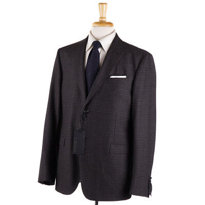 NWT $1595 Z ZEGNA 'Drop 7' Brown-Gray Check Soft Wool Suit 42 R (Eu 52)