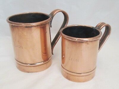 Graduated Pair of 19th century Copper Measures / Tankards - Red Lion