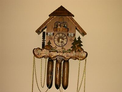 8 day Cuckoo Clock with music and Wooden Weights WORKING  AND SERVICED set of 1
