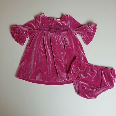 Nordstrom Baby 2-piece Girls Outfit with Ruffles Velour Bell Sleeve Sz 9 Months