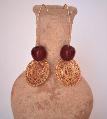 Drops earrings Gold plated ,  Ancient carnelian beads,  Mandela star  Handmade