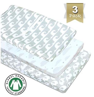 3 Pack Organic Cotton Changing Pad Covers or Cradle Sheet Gray Boy Girl Unisex