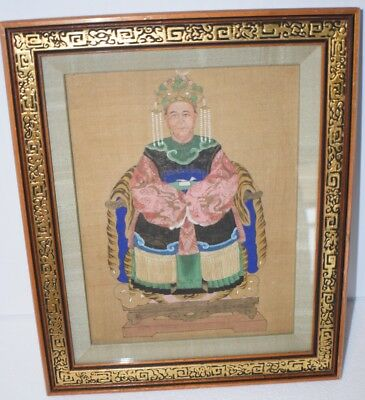Antique Painting on Silk Chinese Ancestral Portrait