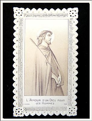 """ANTIQUE 1870's """" LOVE OF GOD FOR THE PEOPLE """" FRENCH CANIVET LACE HOLY CARD !"""