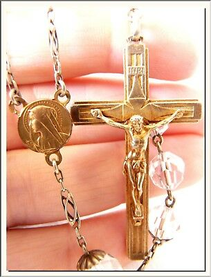 ANTIQUE & SUPER 1930's - WHITE  CZECH CRYSTAL & GILT SILVER - FRENCH ROSARY !!!