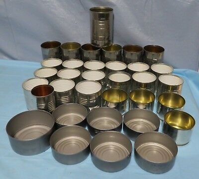 Lot 34 Empty Mixed  Tin Cans Crafts Crafting Art Supply Supplies Candles