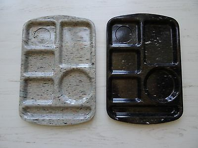 Vintage School Lunch Trays Speckled Gray